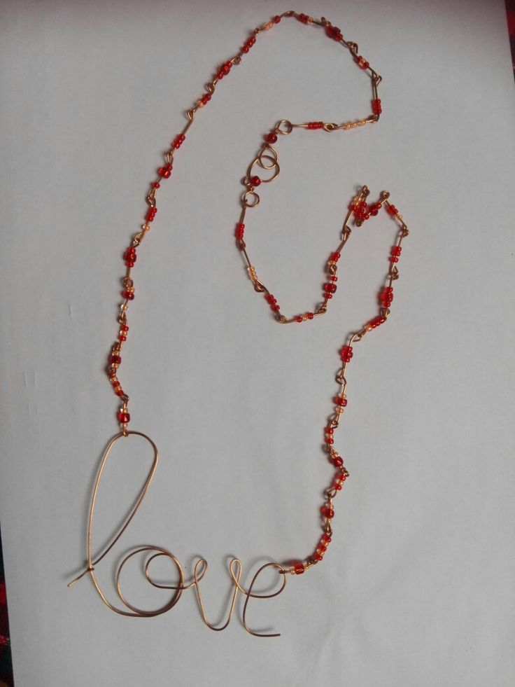 Copper wire pendant on seed bead necklace