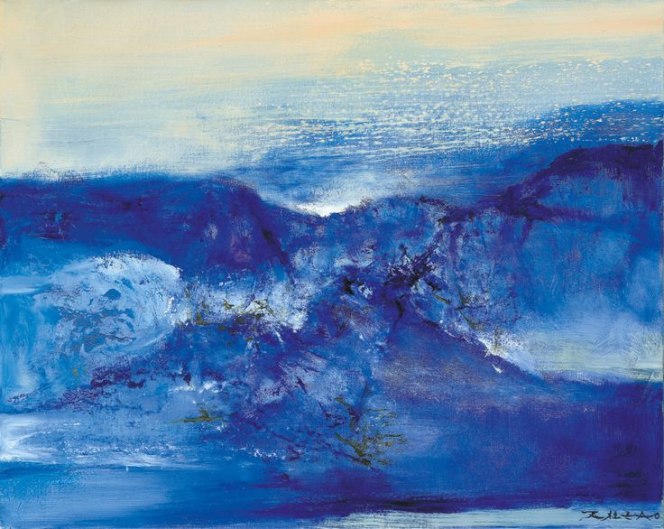 "huariqueje: "" Untitled - Zao Wou-ki , 2000 Chinese-French 1921 - 2013 Oil on canvas, 65 x 81 cm """