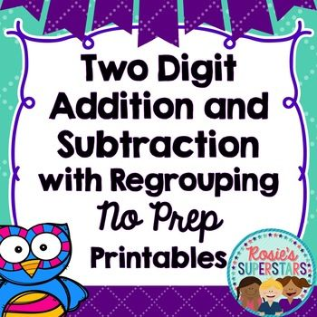 Double digit addition and subtraction practice is made easy with this pack of no prep printables. Over 30 fun and engaging no prep two digit addition and subtraction with regrouping worksheets are included. These worksheets are easy to use and the only required materials are paper, paper clips, pencils and crayons.