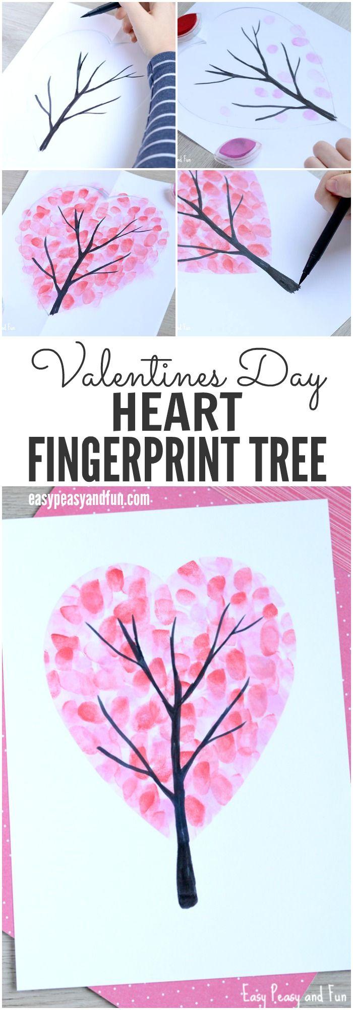 Valentines Day Heart Fingerprint Tree Craft for Kids | Make this valentine handprint craft as a keepsake for family members or to frame at home. Kids will love making a valentine handprint heart tree!