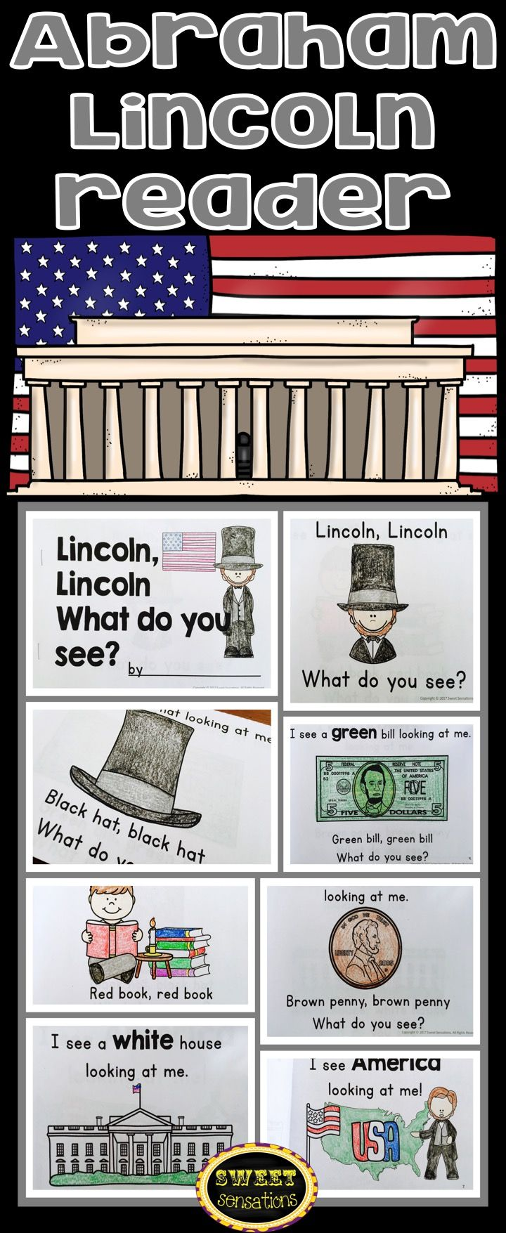 Simple Abraham Lincoln predictive reading text activity for students to reinforce their color words and be introduced to Abraham Lincoln and Presidents day.