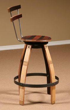 Wine Barrel Stave Furniture, Wine Barrel Swivel Stool, stave stool, table, swivel bar stool, end table, bar height table, bistro table, barrel head clock, bar stool