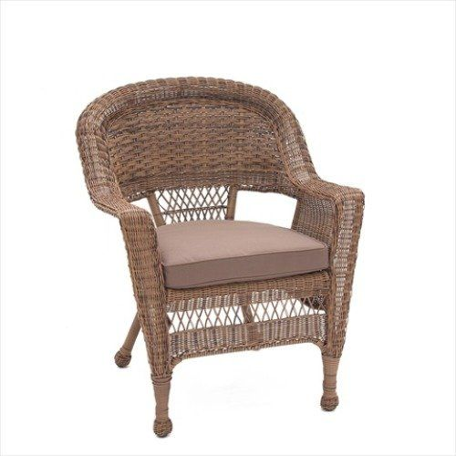 Jeco W00201-4-C-FS007-CS Espresso Wicker Chair with Brown Cushion - Set of 4. Steel frame for extra durability. Crafted to withstand seasons of inclement weather. Hose off and wipe clean. 3.5 in. thick for extra cushion. Made of high grade polyester & foam.