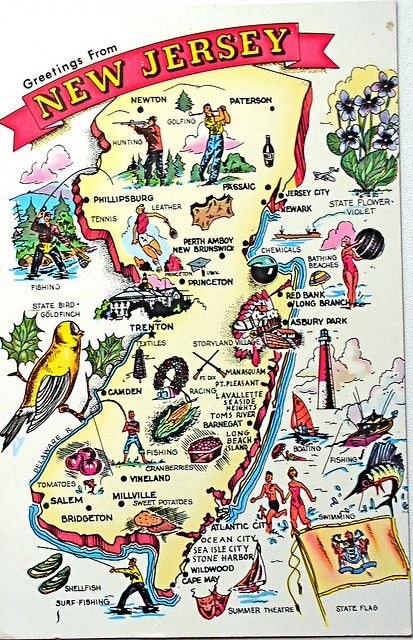 "Greetings from New Jersey map postcard - Back text: ""Nickname - Garden State"