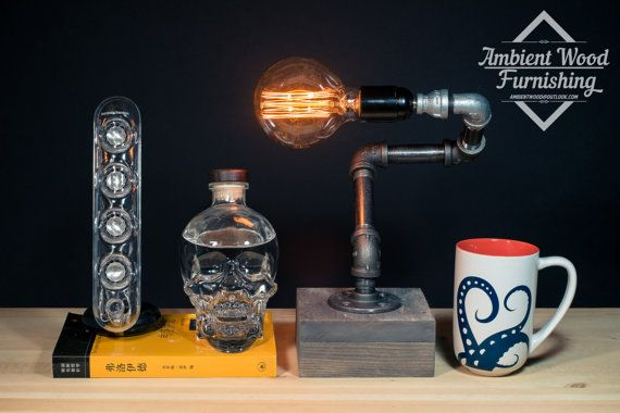 Industrial Iron Pipe Desktop Lamp With Wood Base by AmbientWood
