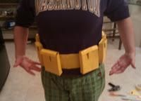 DIY Batmans utility belt out of yellow duct tape DIY Halloween