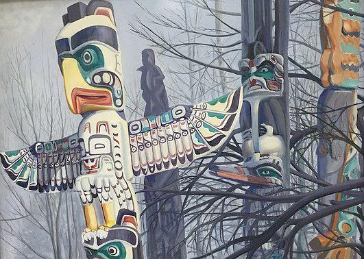 Ken Harrison - Stanley Park Totems 35 x 47 Oil on canvas