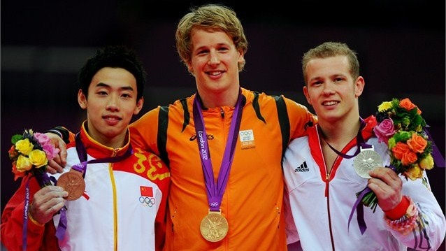 Men's Horizontal Bar medallists pose during Victory Ceremony. Bronze medallist Kai Zou of China, gold medallist Epke Zonderland of Netherlands and silver medallist Fabian Hambuchen of Germany celebrate after the Artistic Gymnastics men's Horizontal Bar final on Day 11 at the North Greenwich Arena.  (aug 7 2012)