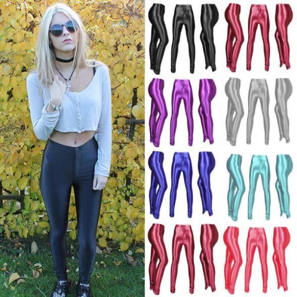 New 2016 Women's High Waist Leggings Fashion Stretch Skinny Shiny Spandex Footless Disco Dance Leggin Trouser Drop Shipping