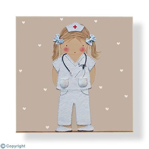 Cuadro infantil personalizado: Niña enfermera (ref. 12089-01)