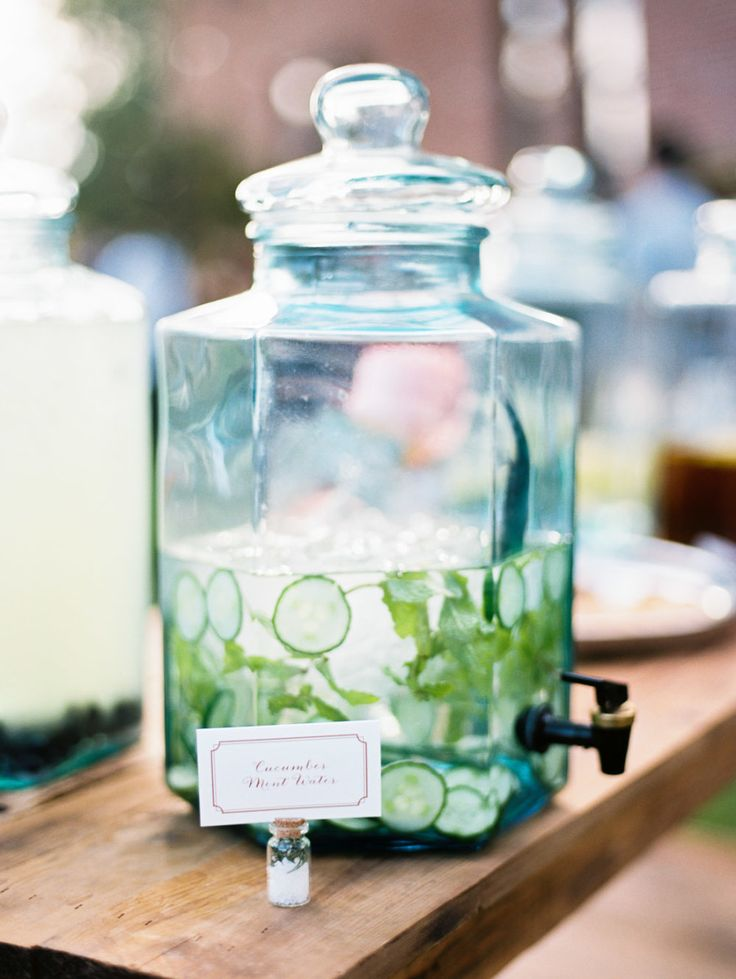 Specialty Water: Cucumber Mint | See the wedding on #SMP Weddings: http://www.stylemepretty.com/2013/12/19/the-historic-balch-hotel-wedding/ Jon Duenas Photography