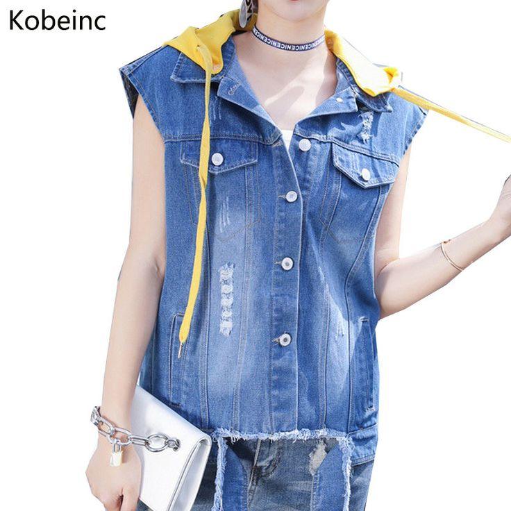 Kobeinc Streetwear Ripped Denim Jackets for Women Sleeveless with Hat Coats Female Back Letter Abrigos 17 Plus Size Chaquetas