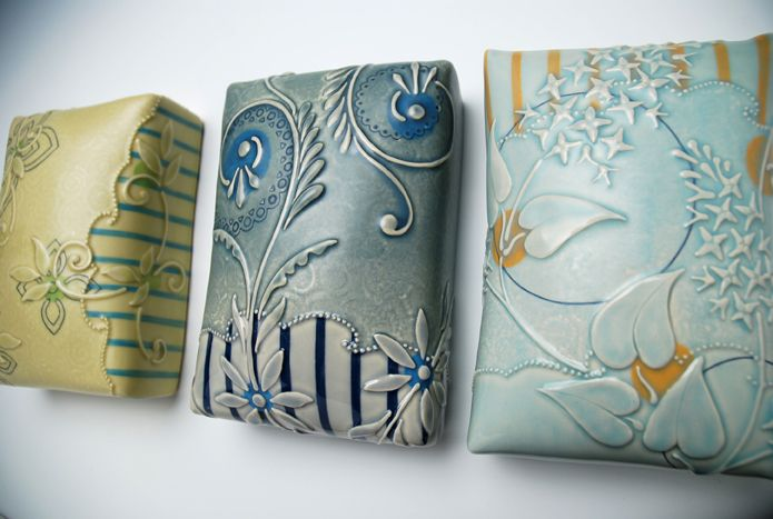 how to make a pillow tile - Google Search by kieffer ceramics gorgeous colors and patterns. Great potential for polymer.