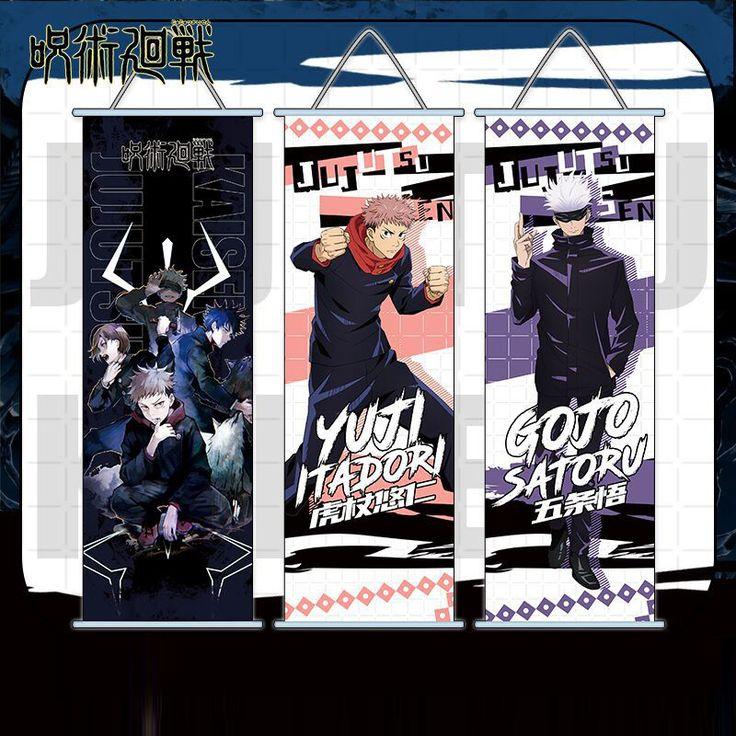 Jujutsu Kaisen Anime Wall Hanging Scroll Print Poster Satoru Gojo Yuji Itadori Sukuna Megumi Fushiguro In 2021 Poster Prints Anime Anime Characters