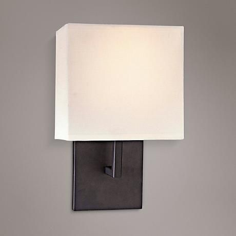 "George Kovacs Bronze Linen Shade 11 1/2"" High Wall Sconce"