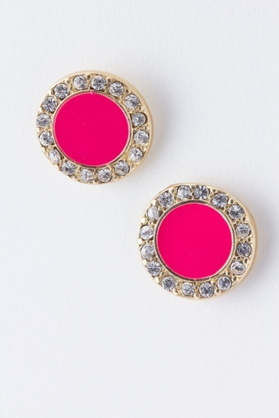 Obsessed: Dotti Crystal, Bright Color, Pink Earrings, Pink Studs, Crystal Earrings, Statement Studs, Hot Pink, Diamond Earrings