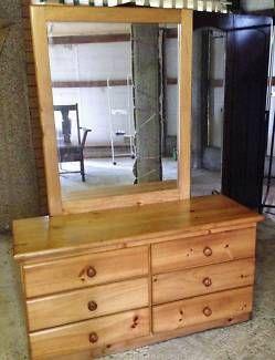 FIXED PRICE ! * Lge. Pine Dresser/6 Drawers & Large Mirror !! * | Dressers & Drawers | Gumtree Australia Logan Area - Logan Central | 1107203101