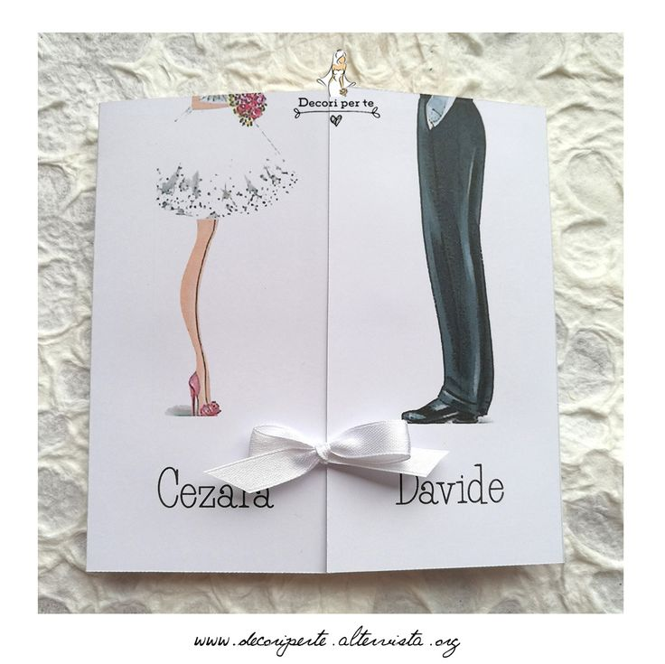 "partecipazioni matrimonio ""disegno sposa e sposo"" wedding invitations ""bride and groom shoes"""