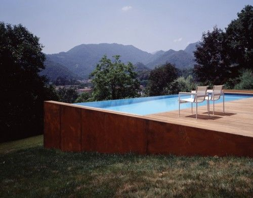 Infinity pool jutting over side of hill. (Home decorators collection)