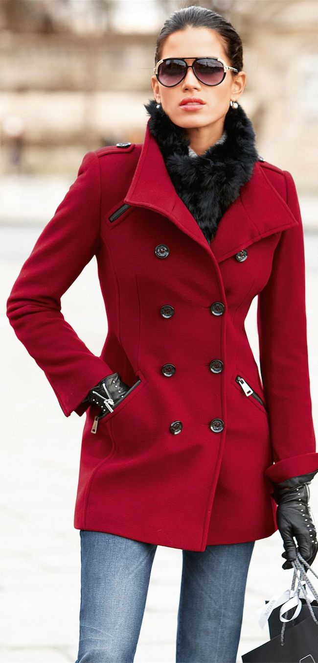 the perfect red jacket with faux fur scarf
