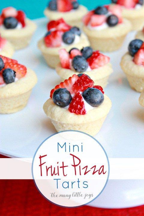 These mini fruit pizza tarts are a fun twist on the traditional fruit pizza that is a summertime dessert staple. They would be a great addition to your patriotic celebrations this year!
