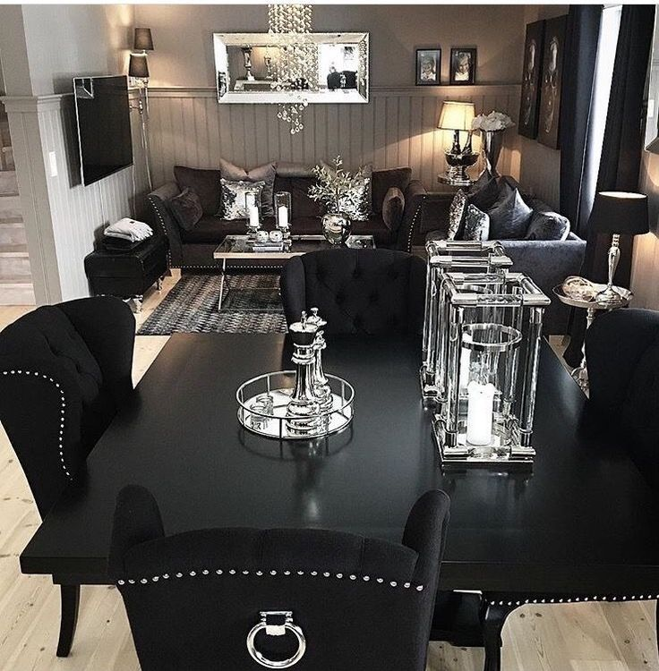25 best ideas about black dining tables on pinterest black dining rooms black dining room for Black and white living and dining room