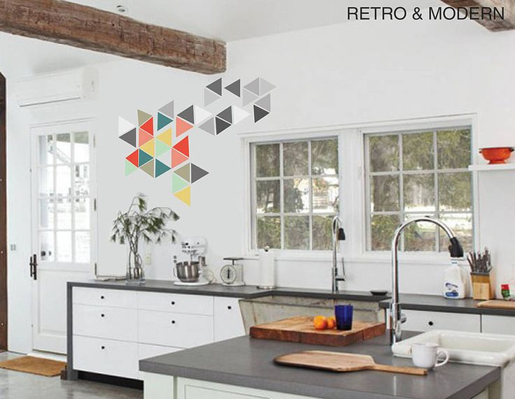 Fascinating Kitchen Design Ideas With White Wall And Concrete Countertop Featuring Geometric Triangle Vinyl Wall Stickers And White Kitchen Cabinets of Modern Geometric Shape Wall Decal Inspirations  Simple Shapes Wall Decals Wall Shapes Art Geometric Wall Decal Geometric Tiles Wall Decals Shapes Wall Decals . 600x465 pixels
