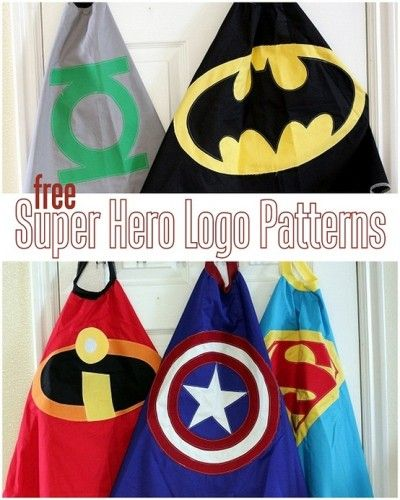 """Super Hero Cape Logo Patterns - interesting they have an incredibles cape since, well you know, """"NO CAPES!"""""""