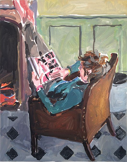 The Delhomme Diary, 31 Dec 2014. Lewis reading, oil on board, 27x22 cm