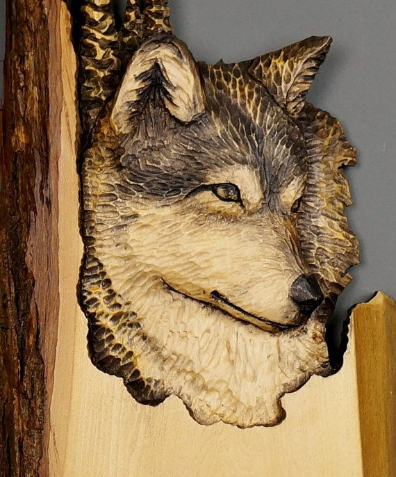 Wolf Carved on Wood Wood Carving with Bark Hand Made by DavydovArt