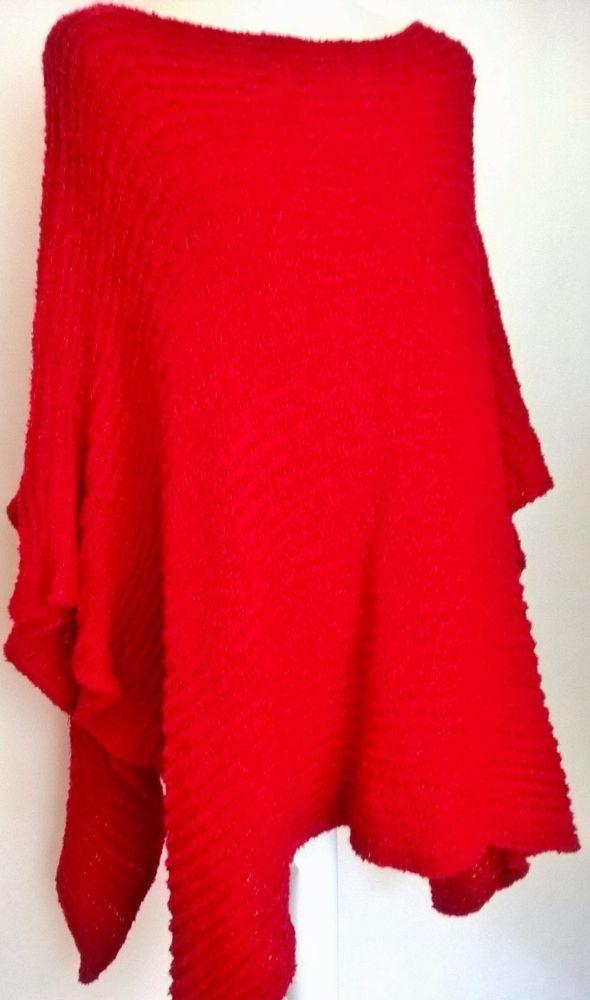 Miękkie ciepłe czerwone ponczo