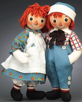 Raggedy Ann and Andy. My mom made Raggedy Ann and Andy for me when I was a child.  Though they are a tad worn, I still have them.