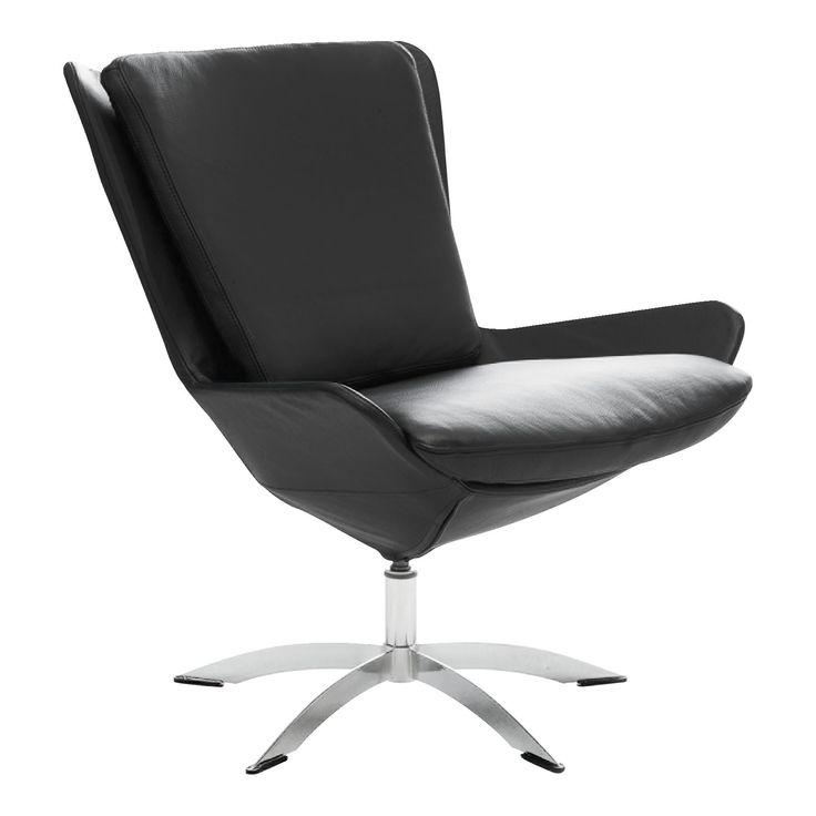 Bolzano lænestol monteret med semianilin læder/spalt, som leveres i mange farver samt drejesokkel.