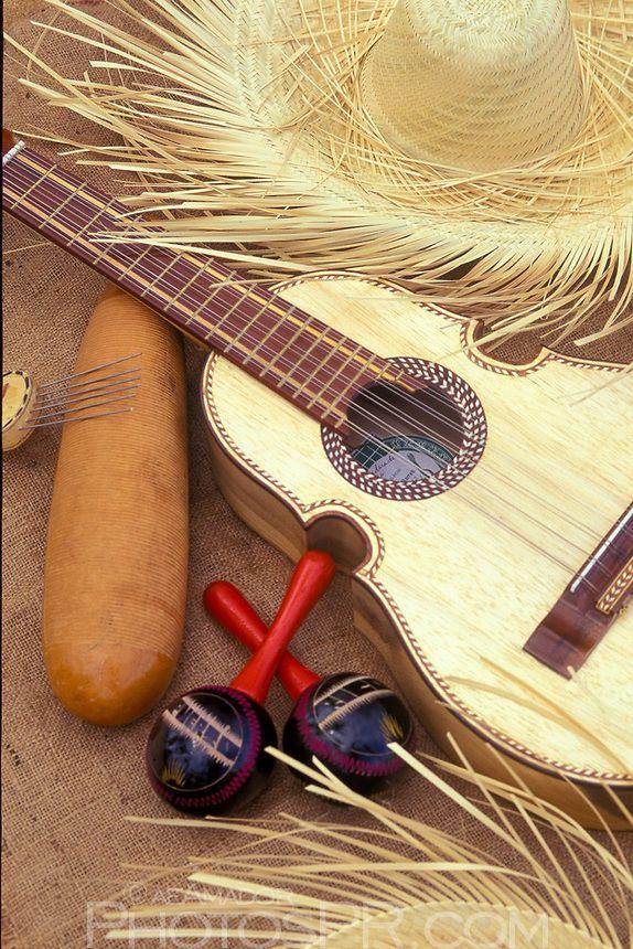 Typical instruments used during  Christmas. El Guiro, Las Maracas y El Cuatro. Puerto Rico