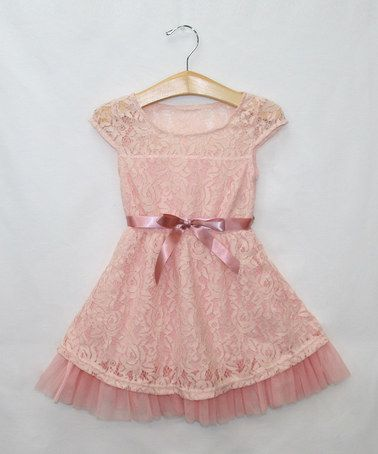 Look at this #zulilyfind! Pink Rose Lace Dress & Belt - Toddler & Girls by Sweet Charlotte #zulilyfinds