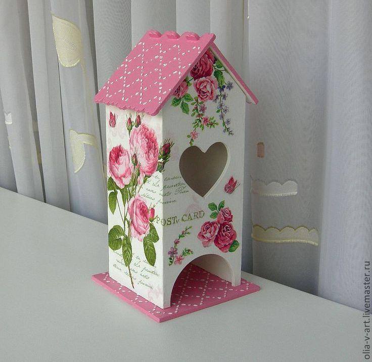 """Купить чайный домик декупаж """"Нежные розы"""" - розовый, чайный домик декупаж, чайный домик"""