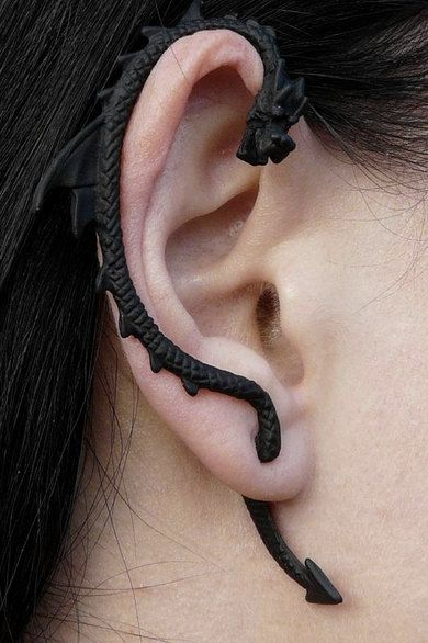 Black Gothic Game of Thrones inspired Customized Hand Painted Dragon Ear Cuff Earring Khaleesi Mother of Dragons