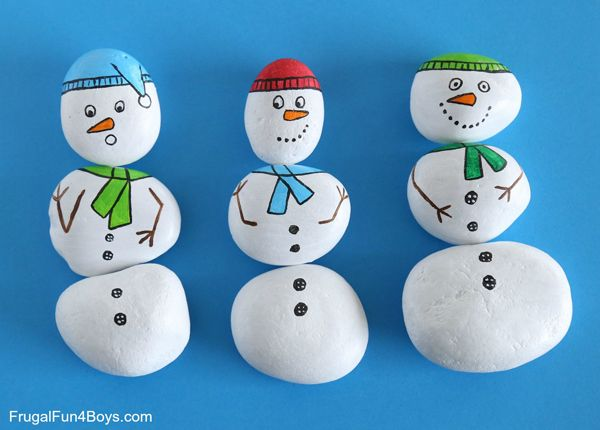 Snowman painted rocks- mix and match to create different snow people