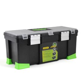 """Mom got me this for Xmas!! Yay! Stanley 22"""" toolbox with full organizing top and removable tray inside. Rust-free latches. Also? Shock-absorbing feet. No idea why'd need that last part... Except maybe accidentally dropping it on my toes"""