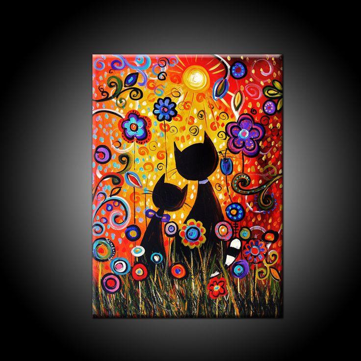 Decoraciones Naif ~  Flores Abstractas, Decoraciones De La Pared y Colores Brillantes