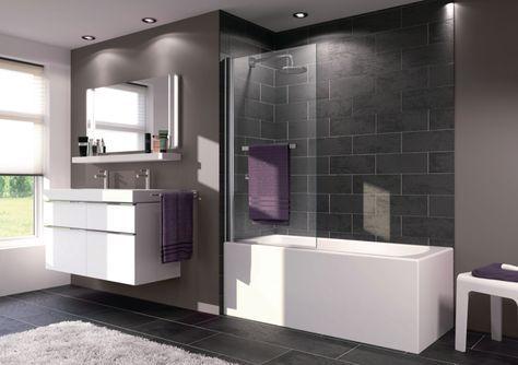 Pare baignoire X1B 1 élément avec porte serviette réversible argent eloxé brillant 75X1,5X153 épaisseur du verre 6mm réf 121702069321 - HUPPE - Sanitaire -CEDEO