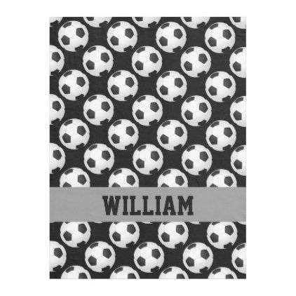 Soccer Fan Sports Personalized Name Black White Fleece Blanket - boy gifts gift ideas diy unique