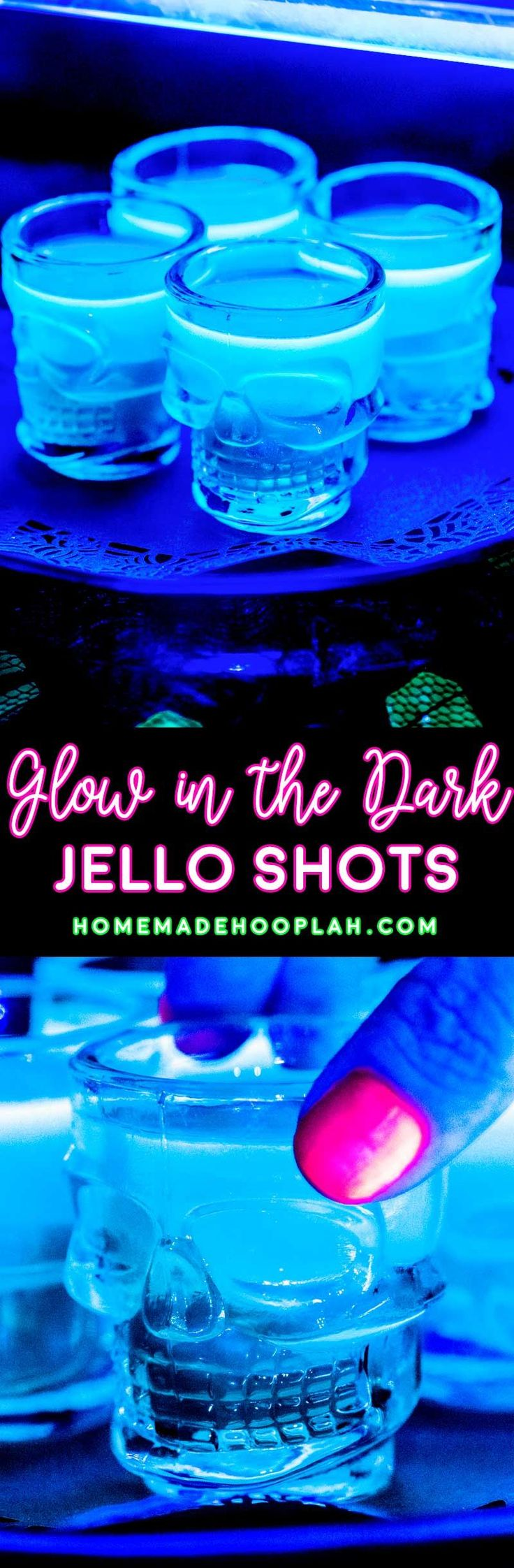 Glow in the Dark Jello Shots! Electrify your next party with these glow in the dark jello shots! You only need 3 ingredients and they can be spiked with any sweet rum or vodka.   HomemadeHooplah.com