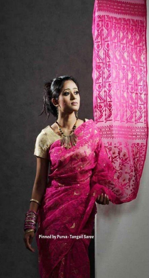 ❀Purva❀ - Pink Jamdani Saree - Tangail Sarees