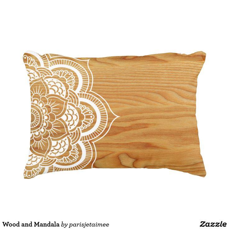 Wood and Mandala Decorative Pillow #mandala #mandalaart #wood