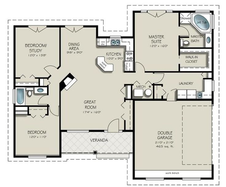 Craftsman Style House Plan - 3 Beds 2 Baths 1550 Sq/Ft Plan #427-5 Floor Plan - Main Floor Plan - Houseplans.com