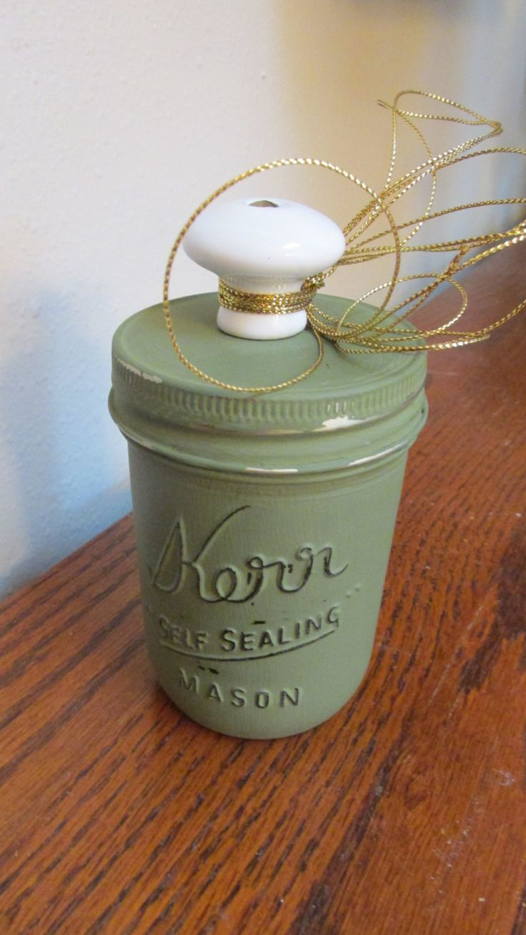 Cottage Look..Kerr Jar Decor...chalk painted and sealed by ChiChiBazaar on Etsy