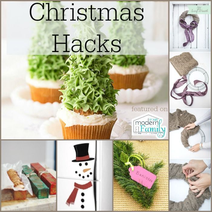christmas hacks - use foil boxes for cookies, diy scarf wreath, use cardboard boxes to make a fireplace, other ideas