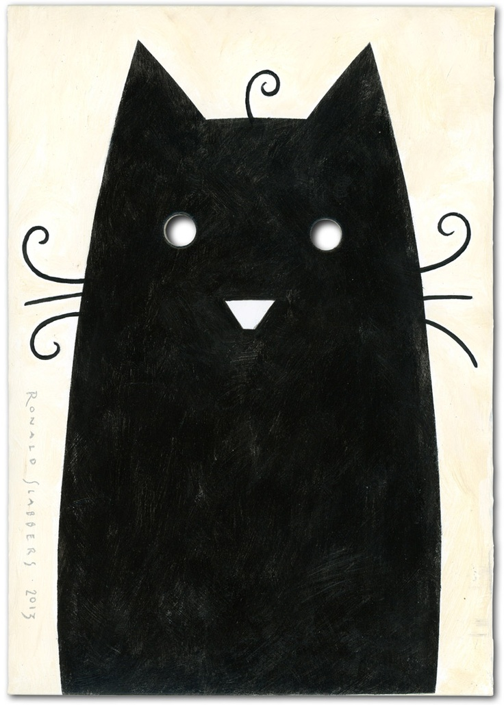 Ronald Slabbers Illustration: 'Black cat on windowsill'. This is my contribution to the Mail Me Art exhibition. (original art paited on an A6 envelope and sent by mail to London).
