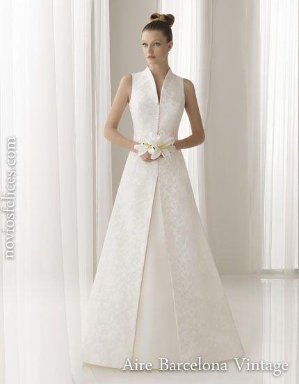 Aire Barcelona Vintage vestidos novias 2012, modelo usual, corte princesa escote en v